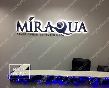 Вывеска, логотип на ресепшн в офис