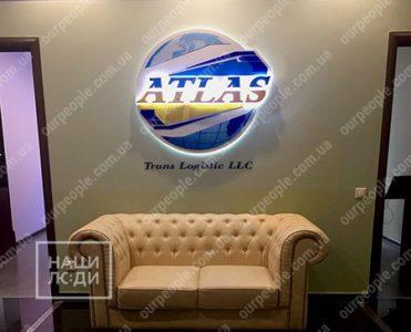 Световой логотип на стену, контражурное свечение букв и короба